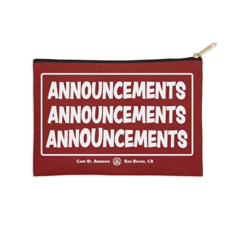 Announcements (white) Accessories Zip Pouch by Camp St. Andrews