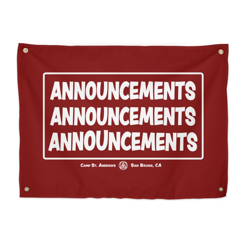 Announcements (white) Home Tapestry by Camp St. Andrews