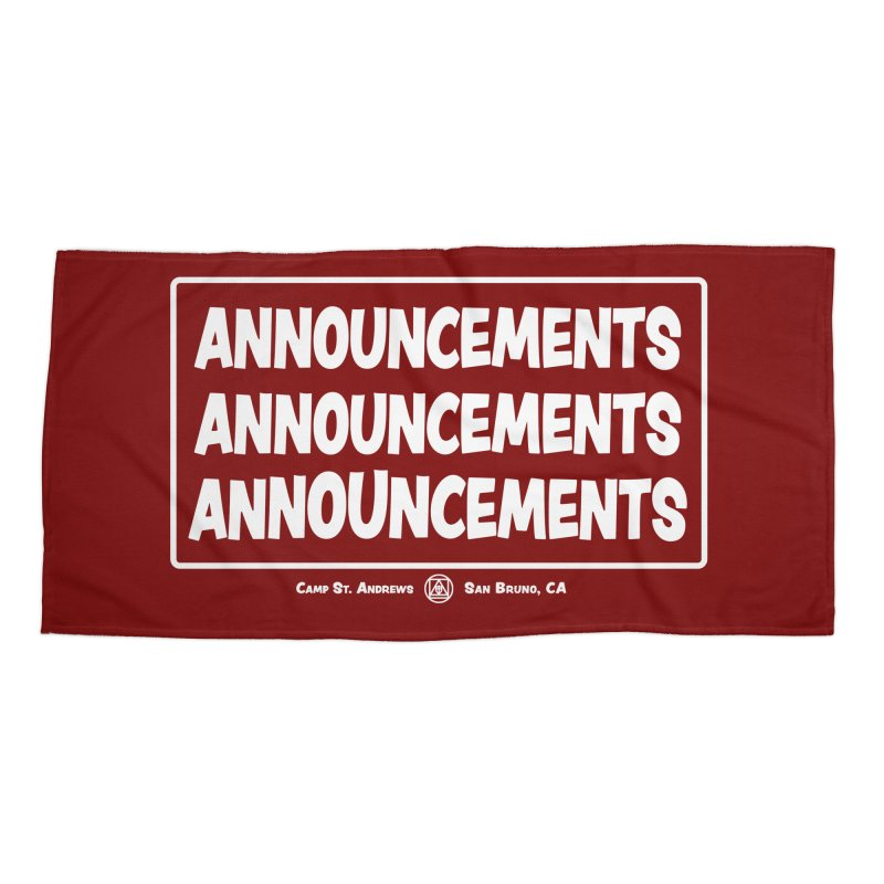 Announcements (white) Accessories Beach Towel by Camp St. Andrews