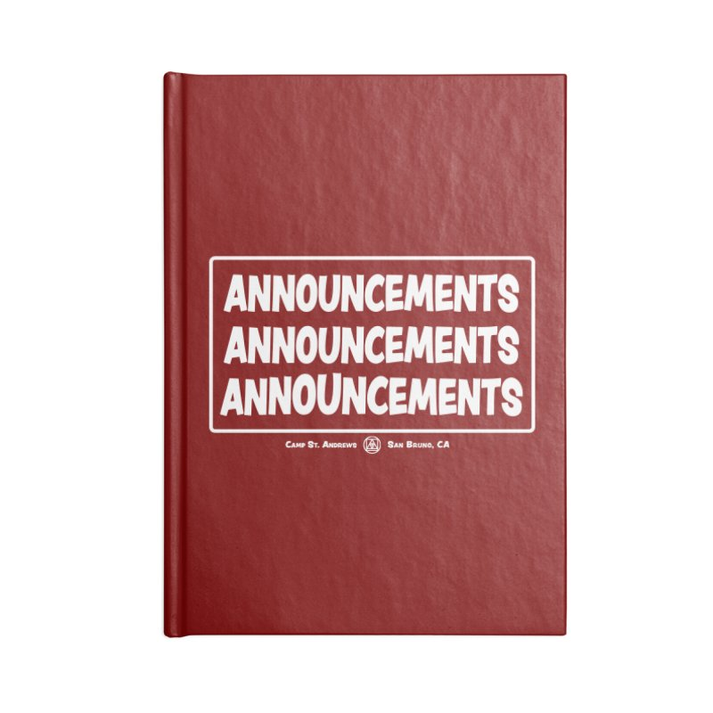 Announcements (white) Accessories Lined Journal Notebook by Camp St. Andrews