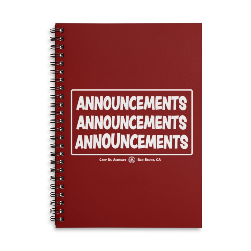 Announcements (white) Accessories Lined Spiral Notebook by Camp St. Andrews