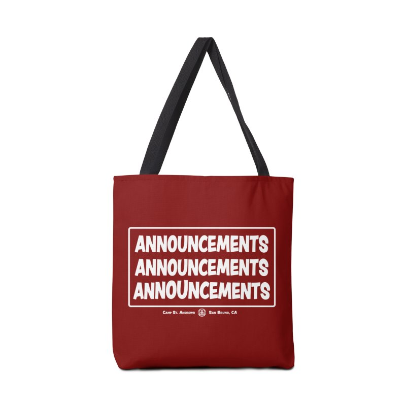 Announcements (white) Accessories Tote Bag Bag by Camp St. Andrews