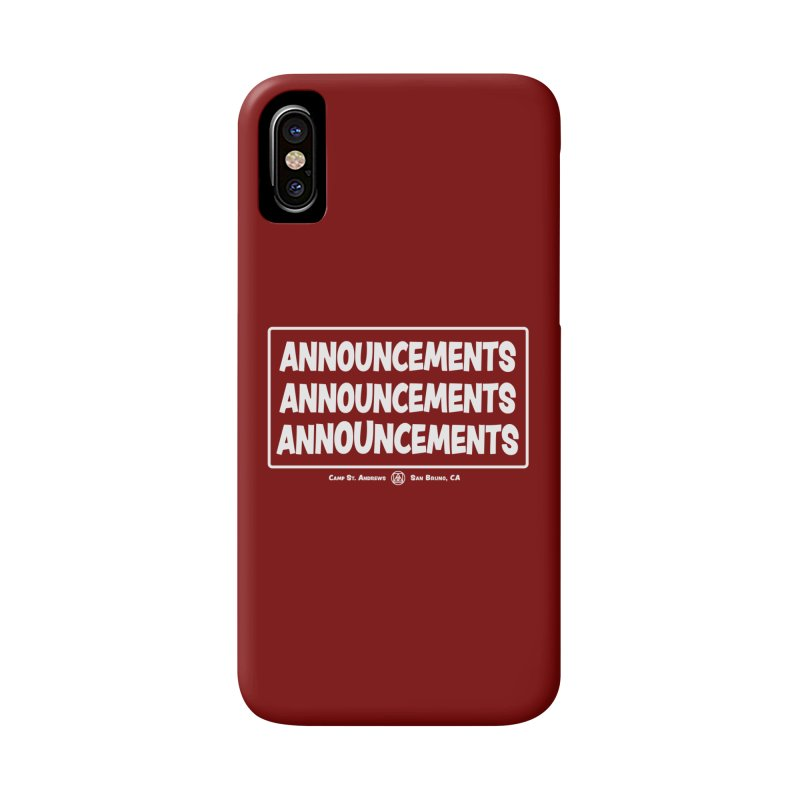 Announcements (white) Accessories Phone Case by Camp St. Andrews