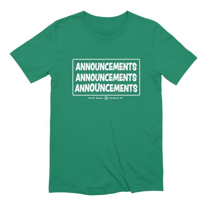 Announcements (white) Men's Extra Soft T-Shirt by Camp St. Andrews