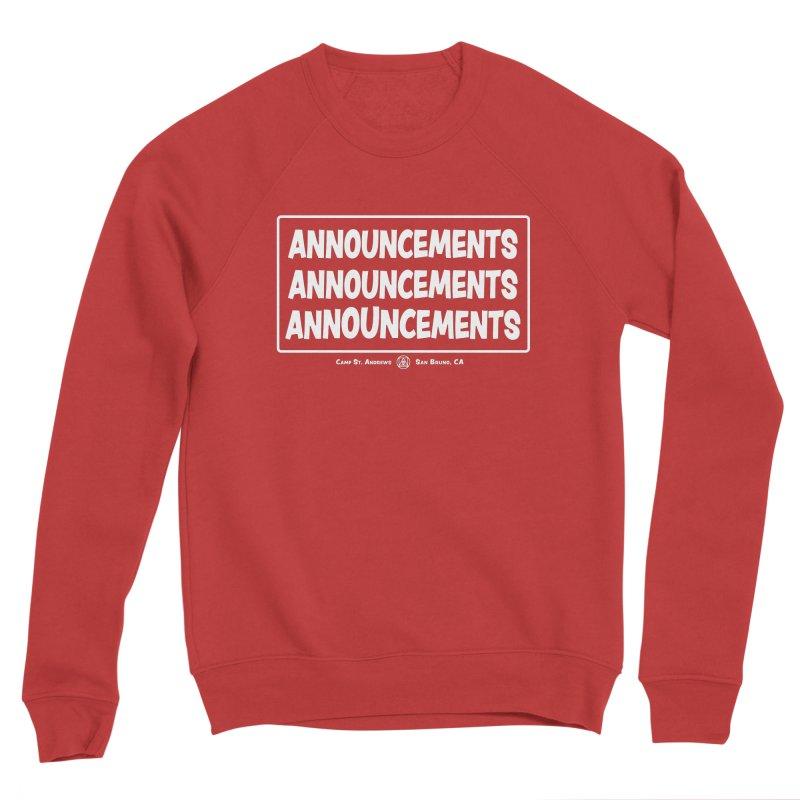 Announcements (white) Women's Sponge Fleece Sweatshirt by Camp St. Andrews