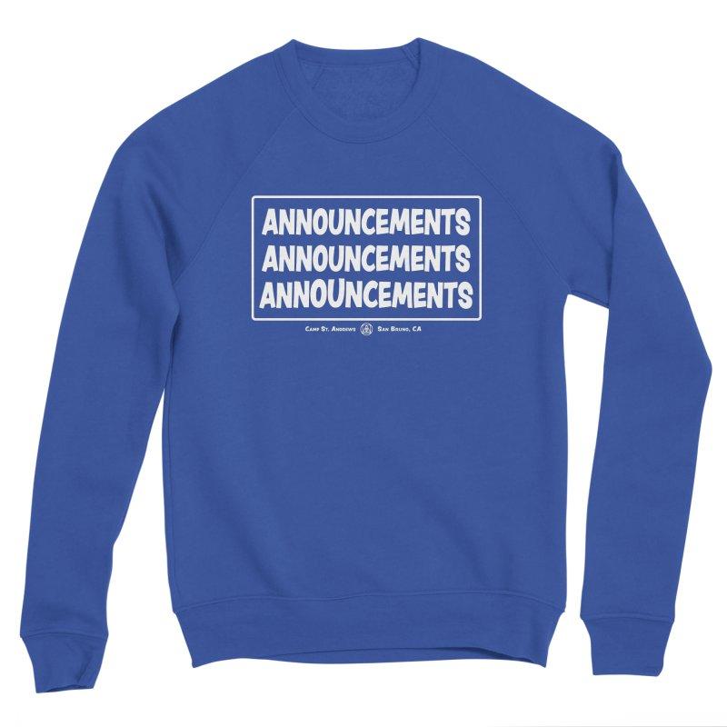 Announcements (white) Men's Sweatshirt by Camp St. Andrews