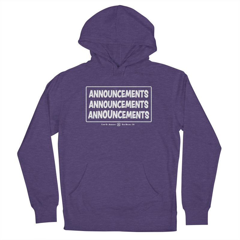 Announcements (white) Women's French Terry Pullover Hoody by Camp St. Andrews