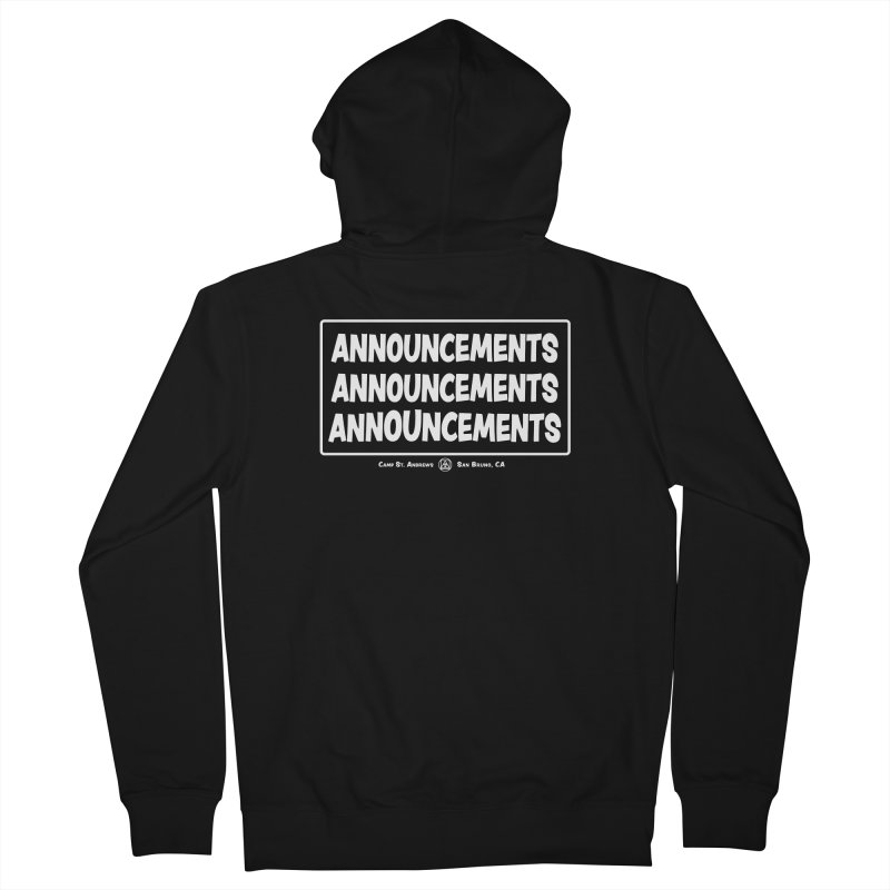 Announcements (white) Women's French Terry Zip-Up Hoody by Camp St. Andrews