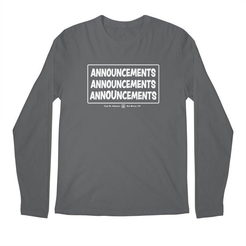 Announcements (white) Men's Regular Longsleeve T-Shirt by Camp St. Andrews