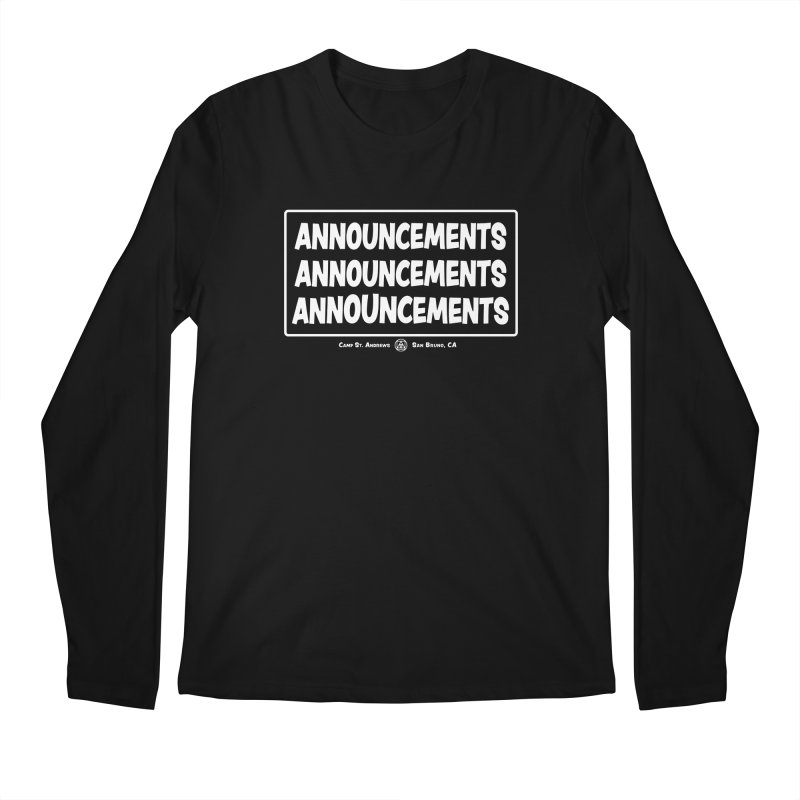 Announcements (white) Men's Regular Longsleeve T-Shirt by Camp St. Andrews