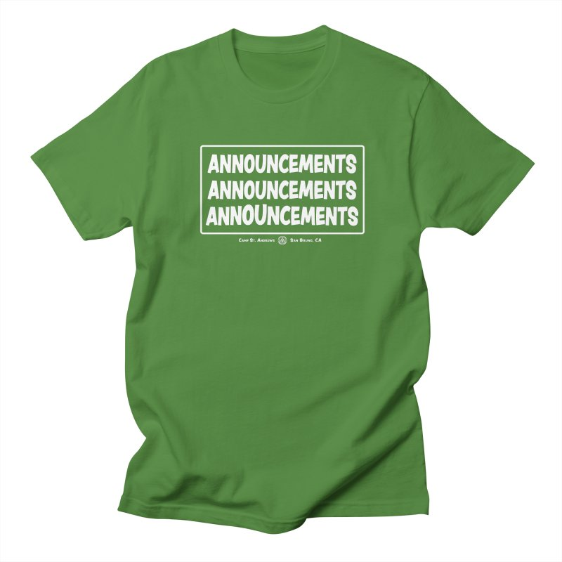 Announcements (white) Men's Regular T-Shirt by Camp St. Andrews
