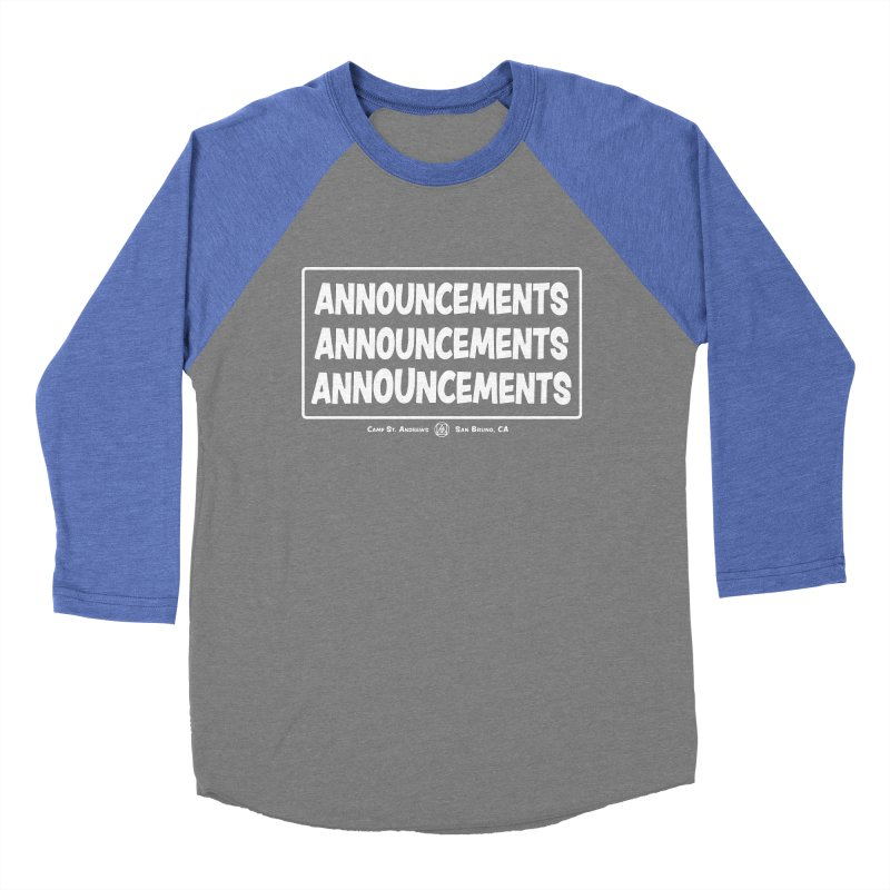 Announcements (white) Women's Baseball Triblend Longsleeve T-Shirt by Camp St. Andrews