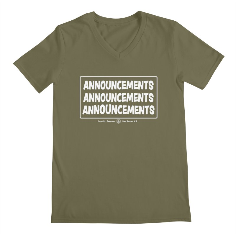 Announcements (white) Men's Regular V-Neck by Camp St. Andrews