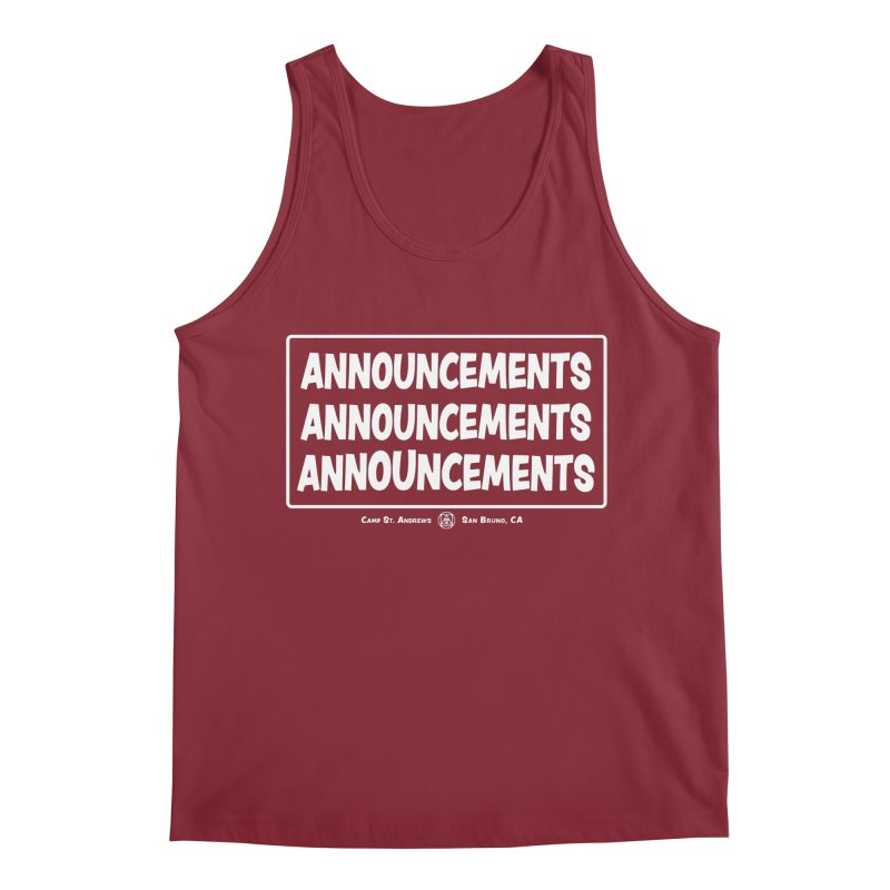 Announcements (white) Men's Tank by Camp St. Andrews