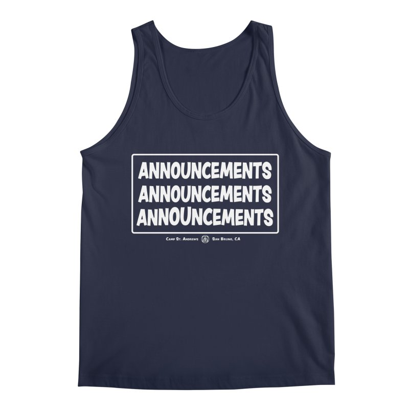 Announcements (white) Men's Regular Tank by Camp St. Andrews