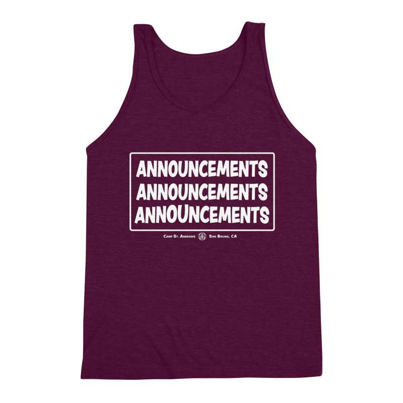 Announcements (white) Men's Triblend Tank by Camp St. Andrews