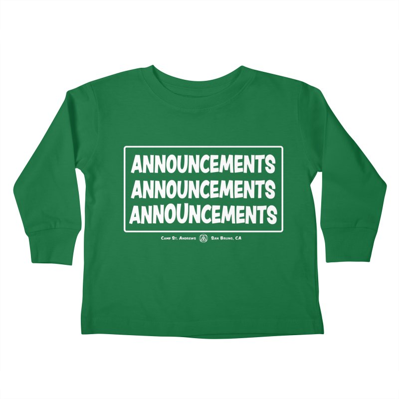 Announcements (white) Kids Toddler Longsleeve T-Shirt by Camp St. Andrews