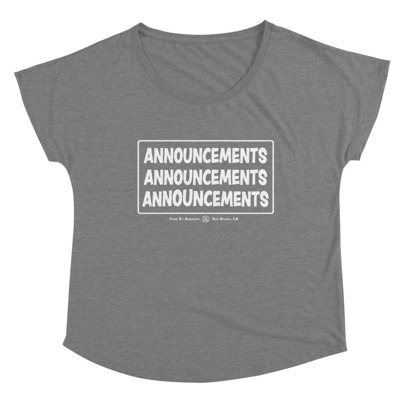 Announcements (white) Women's Scoop Neck by Camp St. Andrews