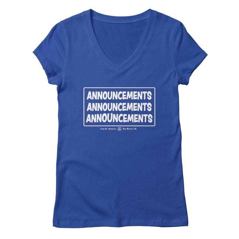 Announcements (white) Women's Regular V-Neck by Camp St. Andrews