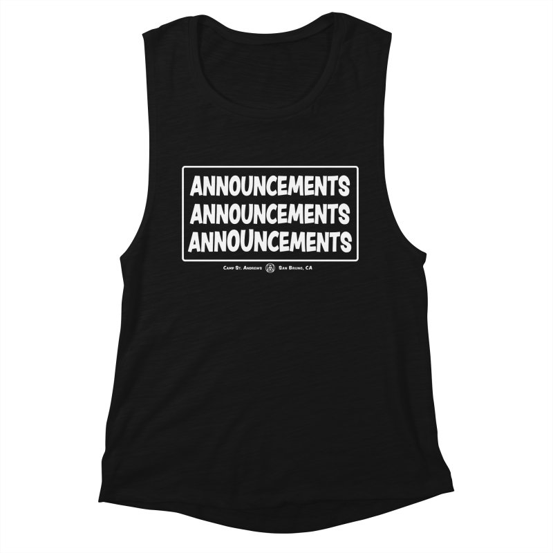Announcements (white) Women's Muscle Tank by Camp St. Andrews