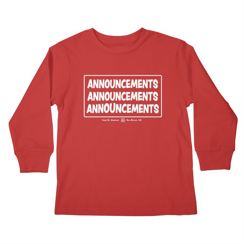 Announcements (white) Kids Longsleeve T-Shirt by Camp St. Andrews