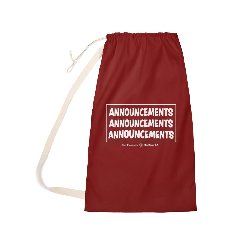Announcements (white) Accessories Laundry Bag Bag by Camp St. Andrews