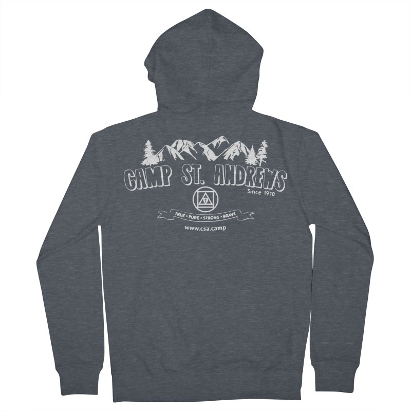 Camp St. Andrews Mountains (white) Men's French Terry Zip-Up Hoody by Camp St. Andrews