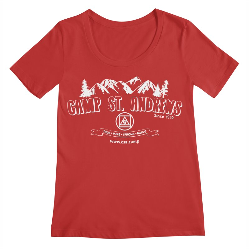 Camp St. Andrews Mountains (white) Women's Regular Scoop Neck by Camp St. Andrews