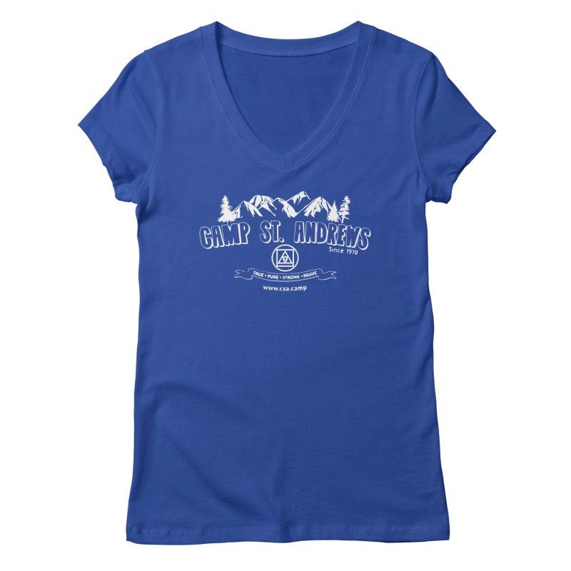 Camp St. Andrews Mountains (white) Women's Regular V-Neck by Camp St. Andrews