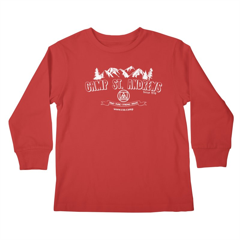 Camp St. Andrews Mountains (white) Kids Longsleeve T-Shirt by Camp St. Andrews