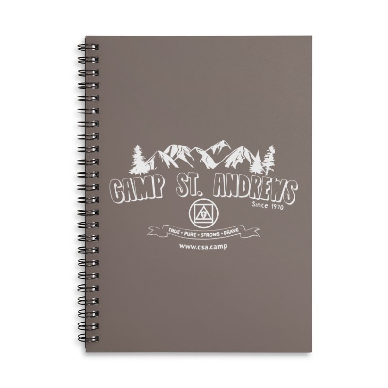 Camp St. Andrews Mountains (white) Accessories Lined Spiral Notebook by Camp St. Andrews
