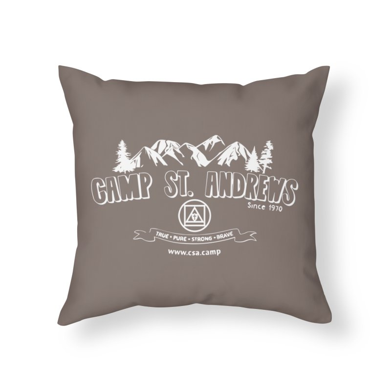 Camp St. Andrews Mountains (white) Home Throw Pillow by Camp St. Andrews
