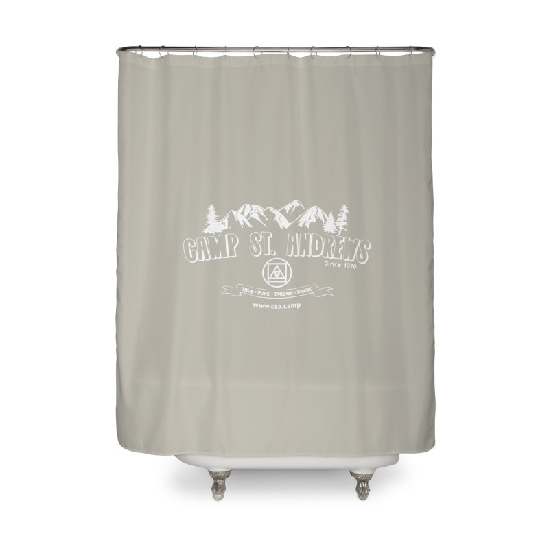 Camp St. Andrews Mountains (white) Home Shower Curtain by Camp St. Andrews