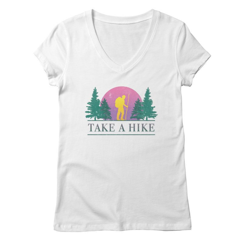 Take a Hike Women's V-Neck by csw