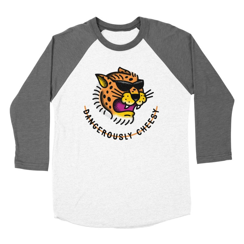 Dangerously Cheesy in Men's Baseball Triblend T-Shirt Tri-Grey Sleeves by csw