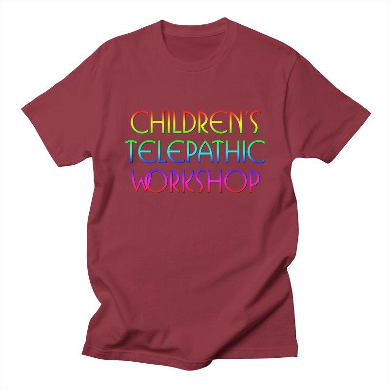 Children's Telepathic Workshop Logo (Rainbow / Stacked) Men's Regular T-Shirt by Children's Telepathic Workshop