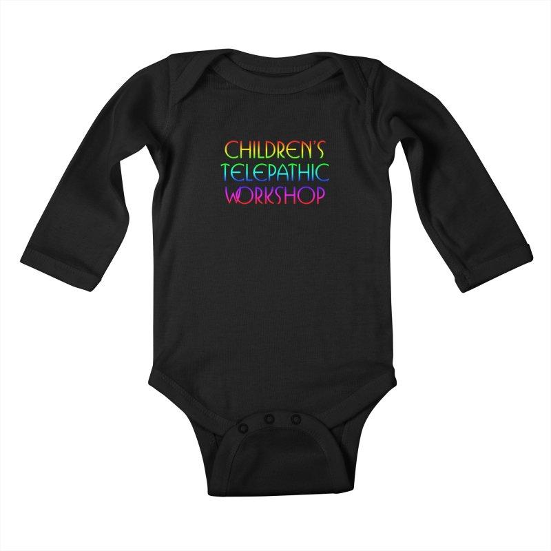 Children's Telepathic Workshop Logo (Rainbow / Stacked) Kids Baby Longsleeve Bodysuit by Children's Telepathic Workshop