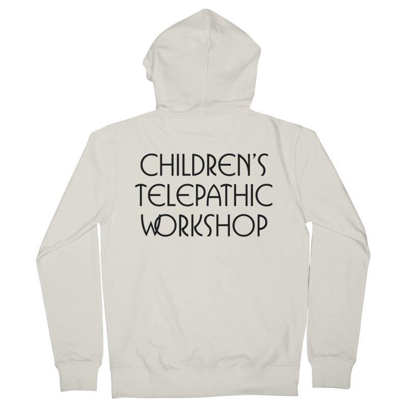Children's Telepathic Workshop Logo (Black / Stacked) Men's French Terry Zip-Up Hoody by Children's Telepathic Workshop