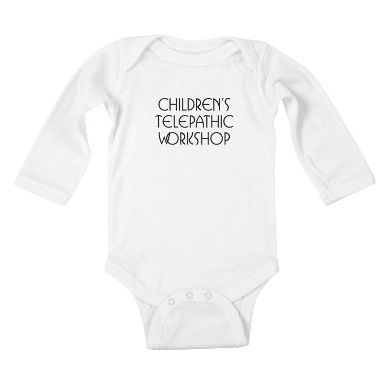 Children's Telepathic Workshop Logo (Black / Stacked) Kids Baby Longsleeve Bodysuit by Children's Telepathic Workshop