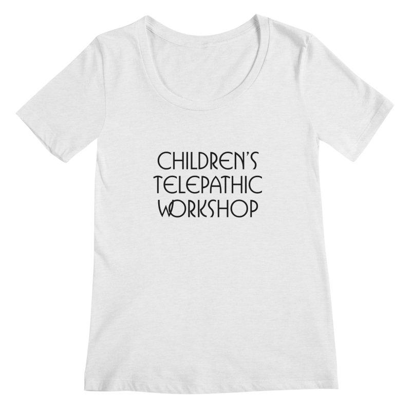 Children's Telepathic Workshop Logo (Black / Stacked) Women's Regular Scoop Neck by Children's Telepathic Workshop