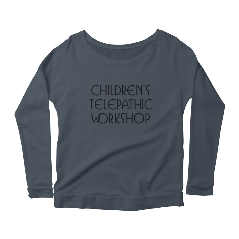 Children's Telepathic Workshop Logo (Black / Stacked) Women's Scoop Neck Longsleeve T-Shirt by Children's Telepathic Workshop