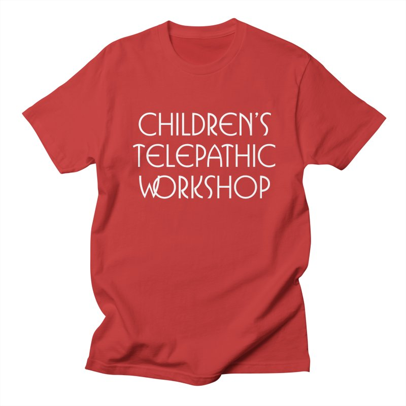 Children's Telepathic Workshop Logo (White / Stacked) Men's Regular T-Shirt by Children's Telepathic Workshop