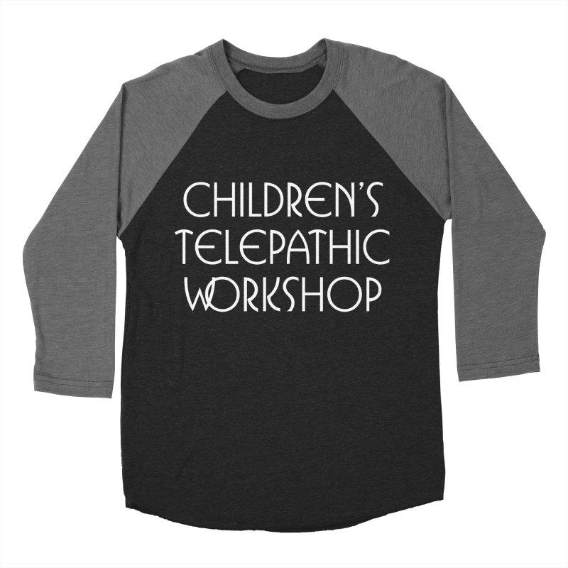 Children's Telepathic Workshop Logo (White / Stacked) Men's Baseball Triblend Longsleeve T-Shirt by Children's Telepathic Workshop