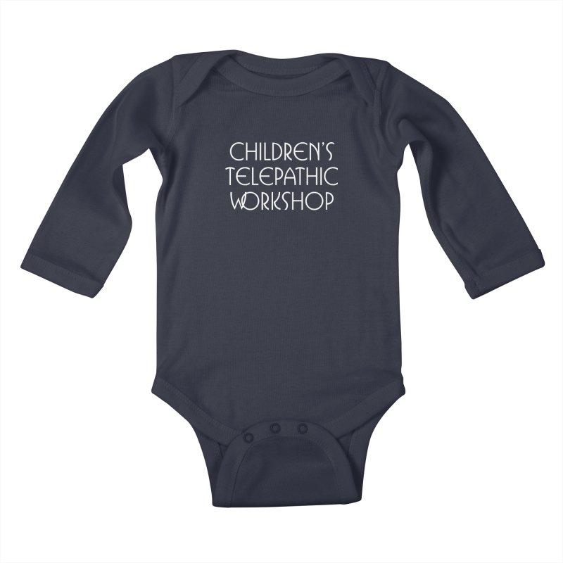 Children's Telepathic Workshop Logo (White / Stacked) Kids Baby Longsleeve Bodysuit by Children's Telepathic Workshop