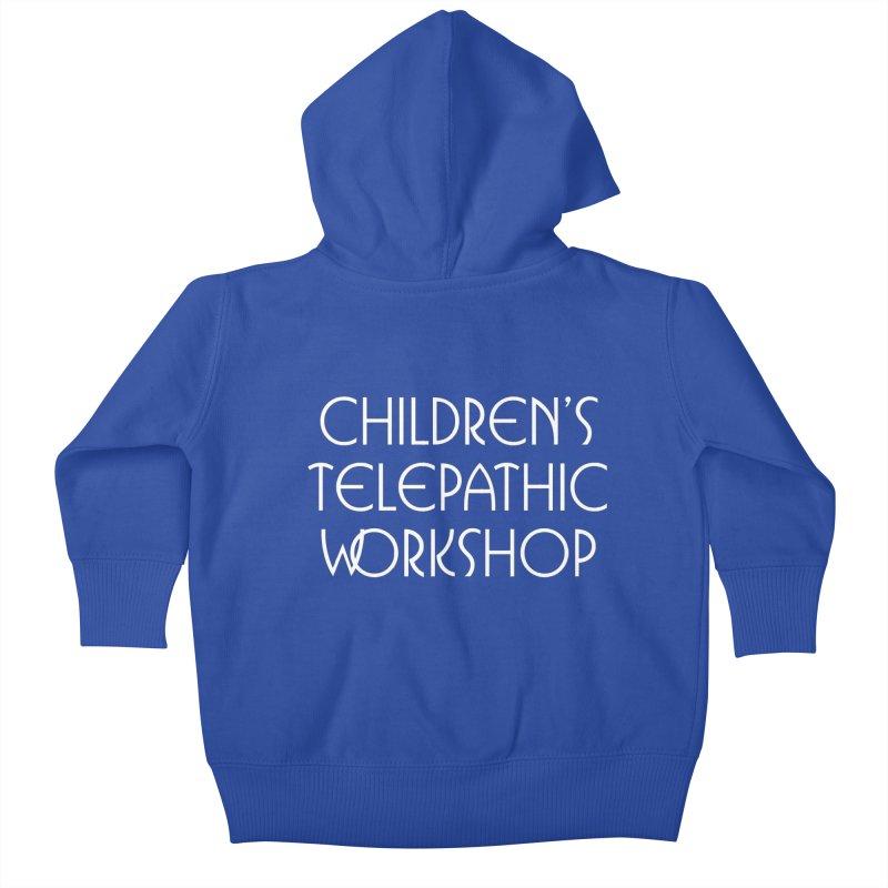 Children's Telepathic Workshop Logo (White / Stacked) Kids Baby Zip-Up Hoody by Children's Telepathic Workshop