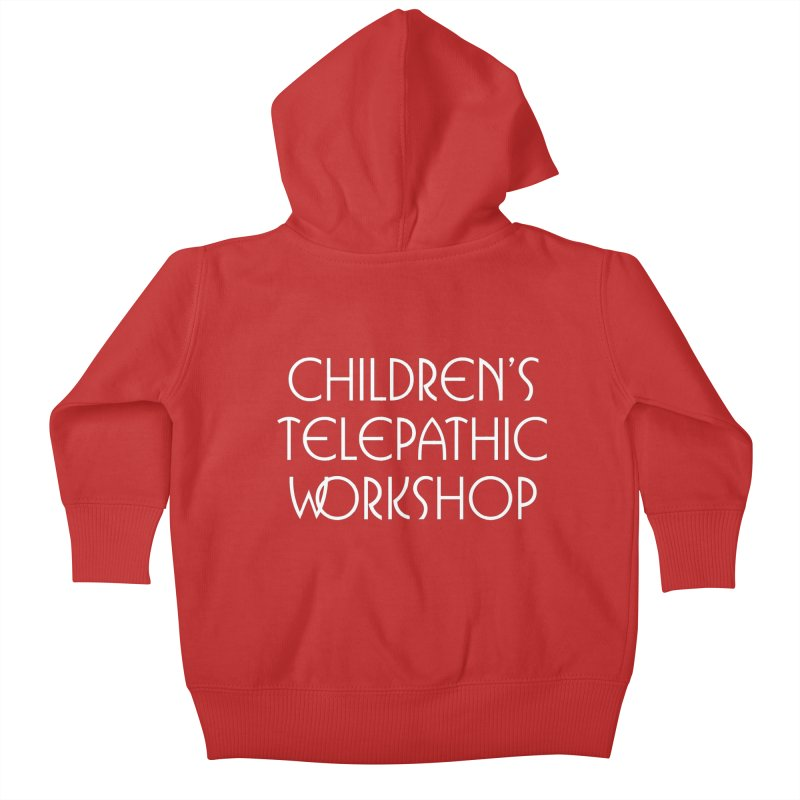 Children's Telepathic Workshop Logo (White / Stacked) Kids Baby Zip-Up Hoody by Children's Telepathic Workshop
