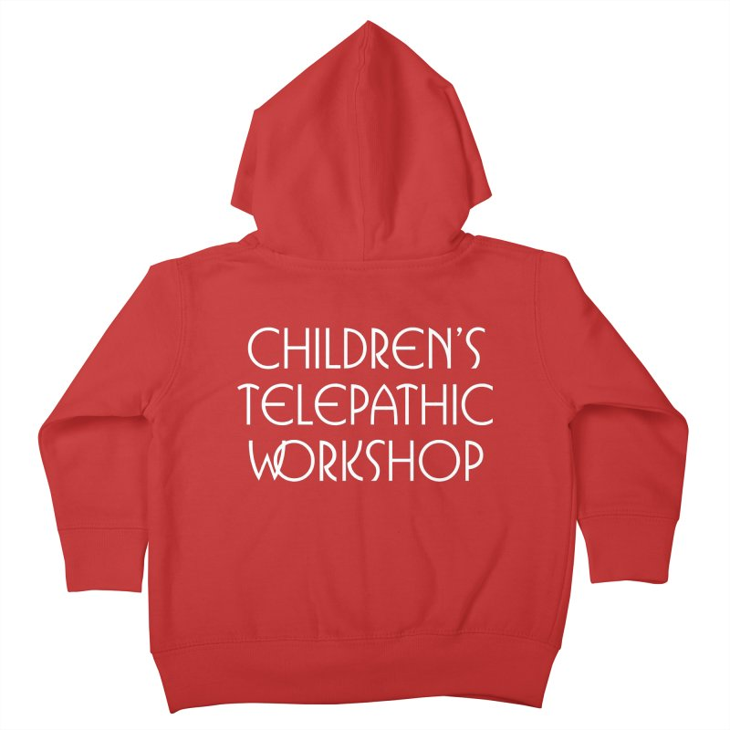 Children's Telepathic Workshop Logo (White / Stacked) Kids Toddler Zip-Up Hoody by Children's Telepathic Workshop