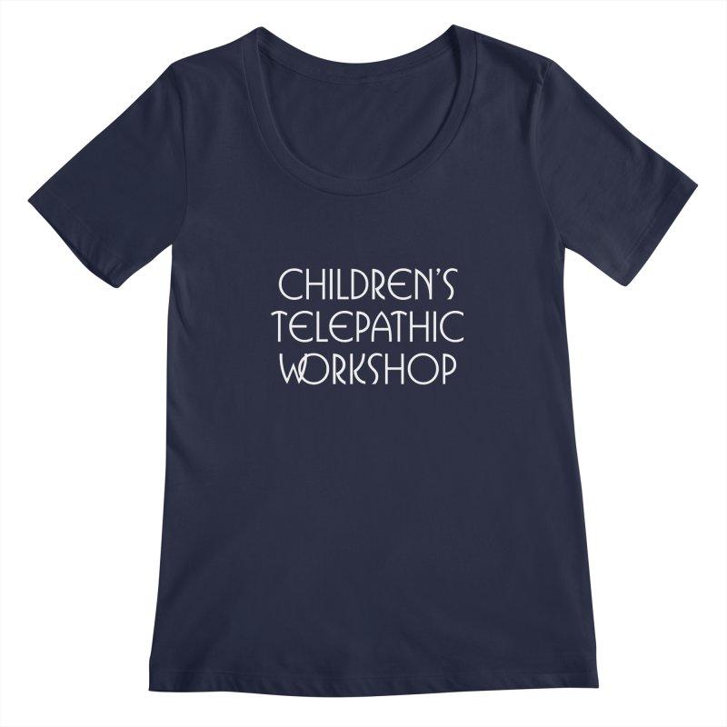 Children's Telepathic Workshop Logo (White / Stacked) Women's Regular Scoop Neck by Children's Telepathic Workshop