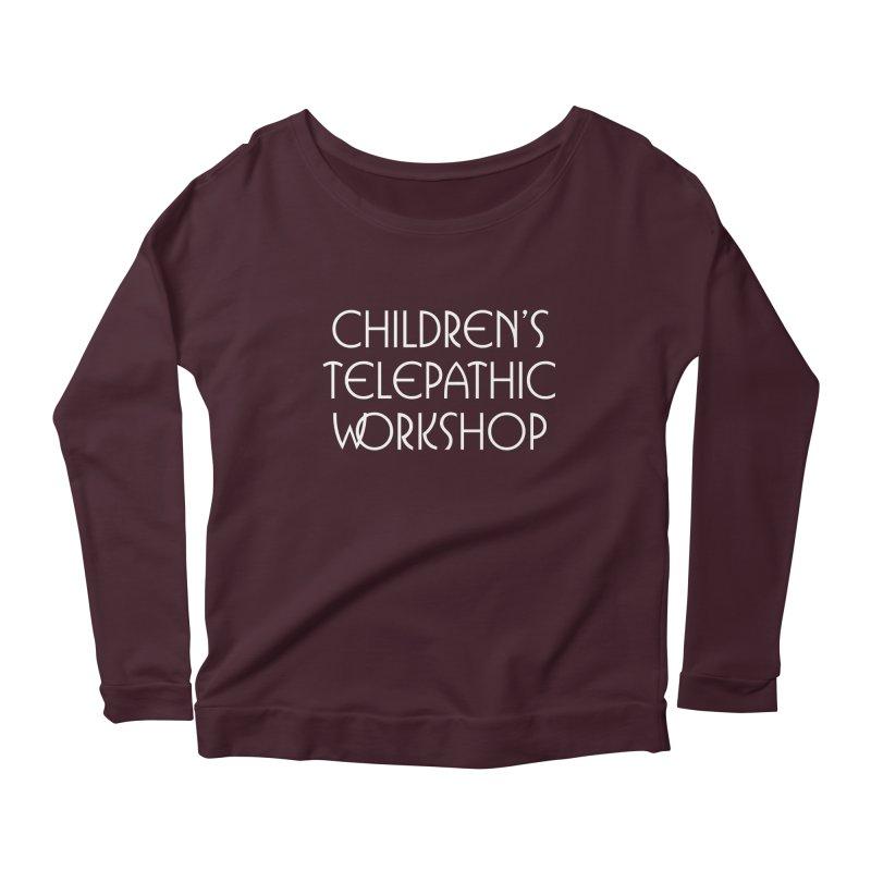 Children's Telepathic Workshop Logo (White / Stacked) Women's Scoop Neck Longsleeve T-Shirt by Children's Telepathic Workshop