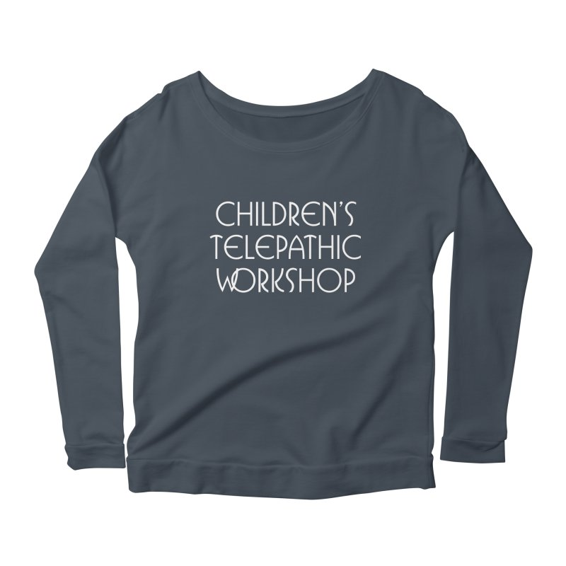 Children's Telepathic Workshop Logo (White / Stacked) Women's Scoop Neck Longsleeve T-Shirt by Children's Telepathic Workshop